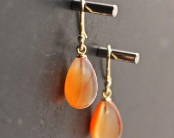 Carnelian Earrings Orange Earrings Tear Drop Earrings Dangle Earrings Velvet Gemstone Earrings Gift For Her Jewelry Under 75 Bridal Earring
