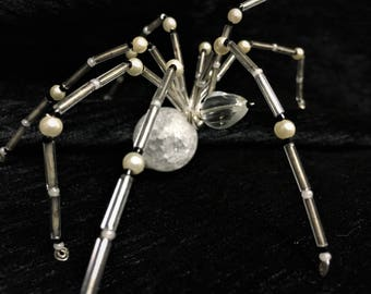 Beaded Wire Spider Hand Crafted in Silver and White