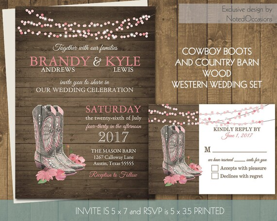 Wedding Invitations Country Theme: Printable Country Western Wedding Invitations Set Cowboy Boots