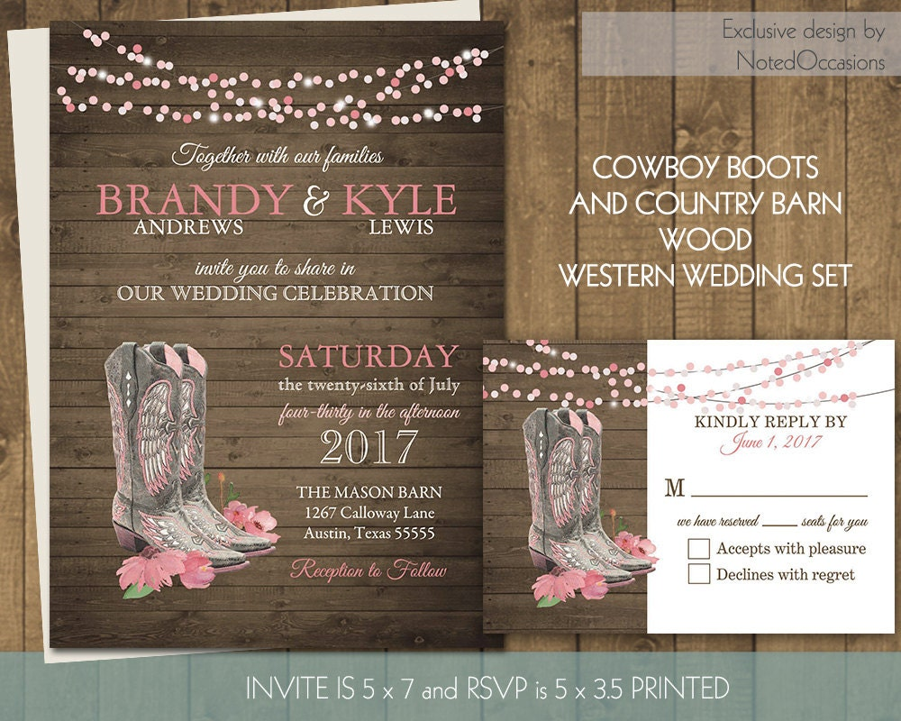 Printable Country Western Wedding Invitations Set Cowboy Boots