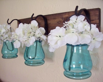 Colored pots trio (3) wall decor. Wall sconces, housewarming gift, bathroom decor, wrought iron hook, rustic wood boards