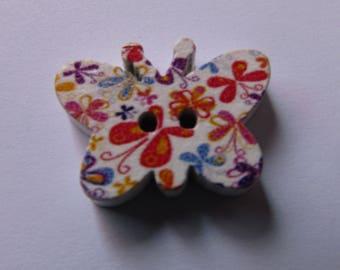 wooden button, set of 2, scrapbooking, butterfly, various patterns