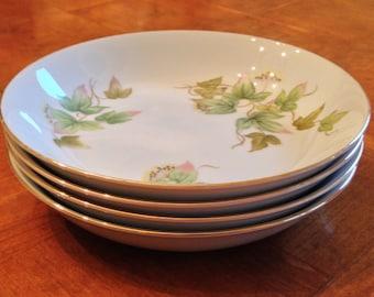 "Narumi China  ""Spring Ivy"" Set of Four Soup Bowls, Ivy Soup Bowls, Gold Trim Bowls"