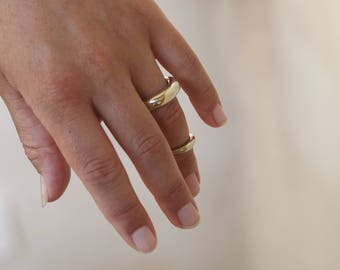 Hammered Chunky Polished Bronze Ring