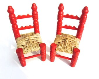 two miniature vintage red wood ladderback chairs painted dollhouse furniture antique dollhouse furniture straw seated chairs mini