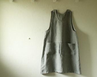 LINEN SMOCK with 4 POCKETS / stripe linen apron / linen dress / linen pinafore /linen tunic / apron / women / made in australia / pamelatang
