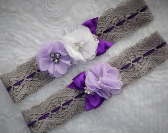 Purple lace garter, Purple and gray garter, Stretch lace garter, Purple Garter, Bridal Garter, Prom Garter, vintage lace garter
