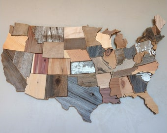 Wood wall art, Rustic home decor, USA map art, Reclaimed wood, Pallet art, Barn wood, Driftwood, US map art, United States map, Rustic