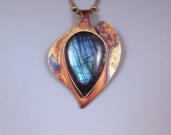 Blue Labradorite- Abstract Heart Design- Nature Inspired- Rainbow Patina- Metal Art Pendant- One of a Kind- Labradorite Necklace