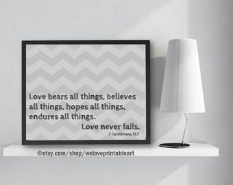 Religious Art Print Religious Artwork Printable Wall Art Religious Poster Quotes Love Never Fails 1 Corinthians 13:7