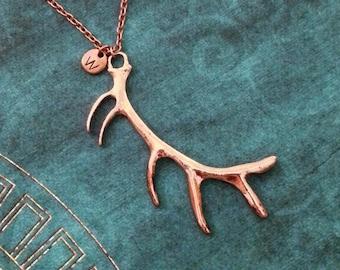 Antler Necklace LARGE Deer Antlers Necklace Deer Jewelry Antler Jewelry Hunting Jewelry Personalized Jewelry Copper Antler Charm Necklace