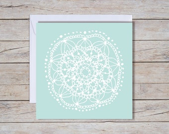 Blue Lace - Square Greeting Card, wedding card, anniversary card, engagement card, love greeting card,