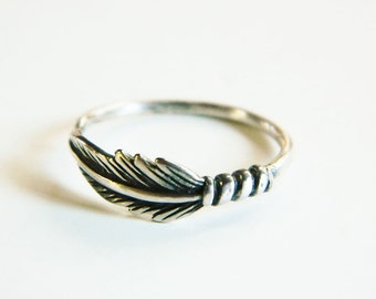Silver feather ring -  stacking ring -  skinny silver band -  bohemian ring -  everyday ring