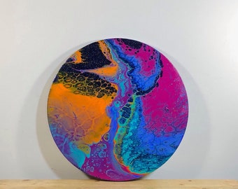 FREE SHIPPING on this 16'' round fluid art painting on canvas.