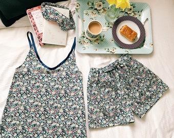 JOANNA Handmade Liberty of London Print Pyjama Set, Ladies Tana Lawn Nightwear Camisole Sleepmask