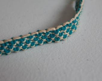 22 inch turquoise and white hemp necklace