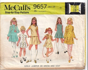 McCall's 9657 Pattern for Girls' Jumper, Dress, Vest, from 1969, Size 12, Vintage Home Sewing Pattern Fashion, Panel Seams, Front Pleats