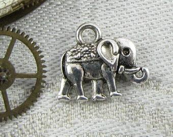 1 or 12, Elephant, Elephant Charm, Indian Elephant, Jungle Animals, Animal Charms, Silver Elephant, Elephant Pendant, ANM002