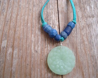 Mint Green Sea Glass Necklace With African Trade Glass - Leather Statement Jewelry Summer Beachy Upcycled Sterling Silver Boho Indie