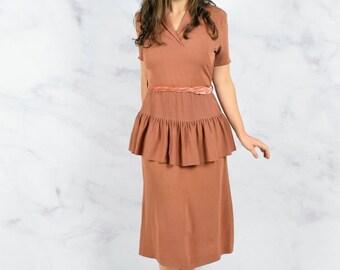 1940s Peplum Dress in Rust Rayon Crepe