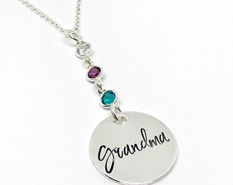 Mother's Day Gift Ideas Sentimental Gifts for Grandma Personalized Birthstone Jewelry Personalized Sterling Silver Gifts for Mom