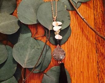 Druzy tassel stone necklace