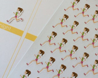 Running Planner Stickers Girl Jogging Stickers Fits Erin Condren Exercise Stickers Workout Stickers Tracker Stickers