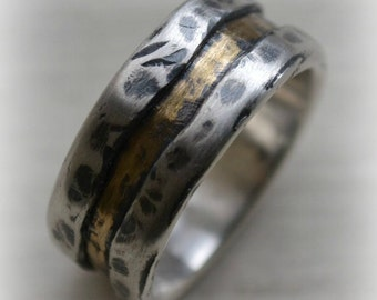 mens wedding band - rustic distressed fine silver and 14k yellow gold ring - handmade artisan designed wedding band - customized