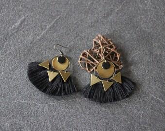 Earrings tassels, ethnic Bohemian, hippie, gypsy, black, bronze tassels, sequins triangle, style