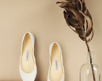 Polka Dot Leather Ballet Flats | Summer Shoes | Classic Model | Standard Width | Polka Dots | Ready to Ship