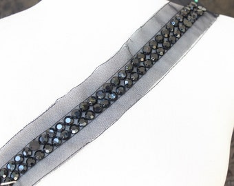 Cute  beaded and   embroidered  applique trim black color  1 pieces listing