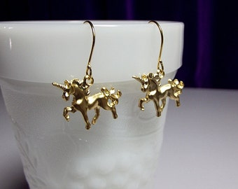 Unicorn Charm 16K Gold Earrings, Mothers Day Gift, Mom Sister Aunt Girlfriend Bridesmaid Jewelry, Pretty Simple