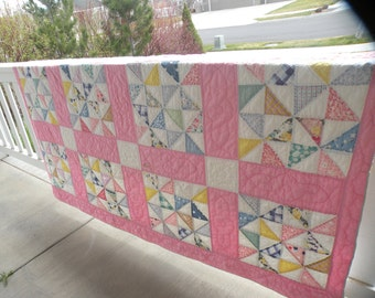 Shabby Cottage Chic Late 1930s Quilt