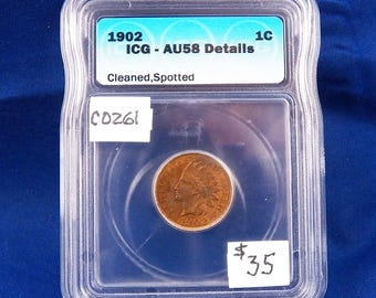 1902 Indian Head Wheat Penny, ICG AU58 DTL., Graded in Holder, Copper, American Coin, circulated, early copper, copper penny