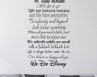 In This House We Do Disney - Wall Decal  sc 1 st  Etsy & We Do Disney Disney wall decal quote wall decal vinyl wall