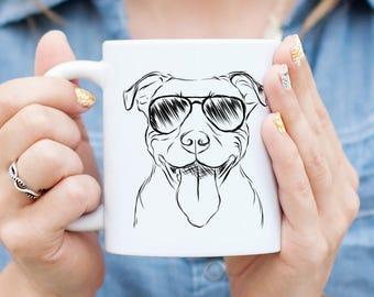 Major the Pitbull Mug - Gifts For Dog Owner, Pitbull Art, Pit Bull Gift