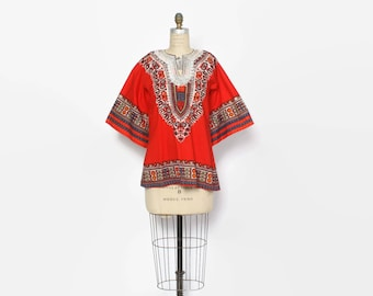 Vintage 70s DASHIKI TOP / 1970s Embroidered Ethnic Hippie Cotton Pointed Sleeve Tunic Shirt