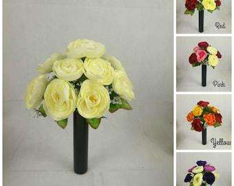 Artificial/Silk Ranunculus Bush/Bunch Flower Yellow, Pink, Cream, Purple, Red.