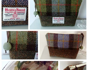 Harris Tweed Cosmetics or Toiletries Bag, in Blue and Green Check Tweed with Fancy Lining and Felt Ball Pull