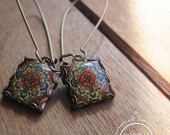 Mexican jewelry, Mexican Talavera tile pattern drop earrings, Southwestern style, Boho rustic rose, Mediterranean, Folk art jewelry
