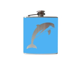 Dolphin Flask- whiskey, liquor, wedding, bridal party,- Personalized Custom - YOU pick COLOR