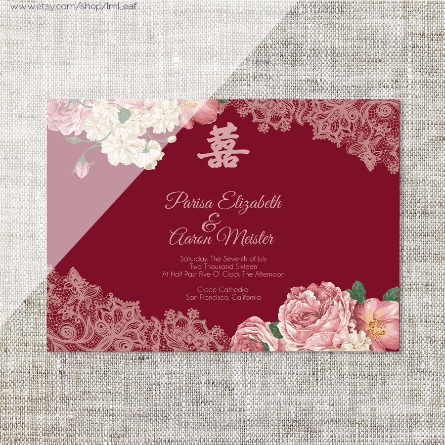 DIY Printable/Editable Chinese Wedding Invitation Card