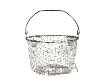 "Wire Deep Fryer Basket, Bail Handle, Deep Fry Strainer Colander, Fold Down Handle 7.75"", Wire Egg Basket, Food Photography Prop"