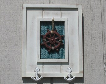 Nautical, seafaring key holder or wall decor  8x10 inches