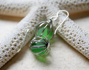 Sea Glass Earrings - Vintage Silver Cage Earrings with Beach Glass - Choose color at checkout