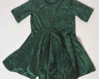 4T Dark Emerald Green Crushed Stretch Velvet Dress