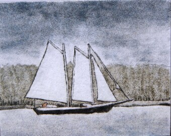 Sailing Number 2 sand painting original 8 x 10 landscape seascape sailboat yacht Maine outsider art work