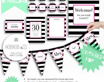 Stripe pink birthday shower graduation party kit editable instant download printable