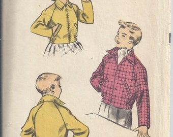 Advance 6162 Vintage Sewing Pattern from 1952; Child's bomber-style jacket. Raglan sleeves  Chest 23