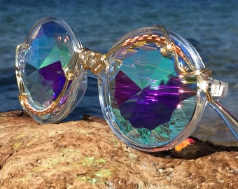 Copper Wire Wrapped <> DiFFRaCTioN <> SPUNGLASSES <> Unisex Kaleidoscope Fractal Sunglasses Eyeglasses <> Every Pair is a piece of art